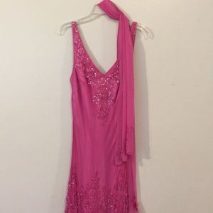 Stunning Pink Beaded/Sequin Dress Like NEW SzL